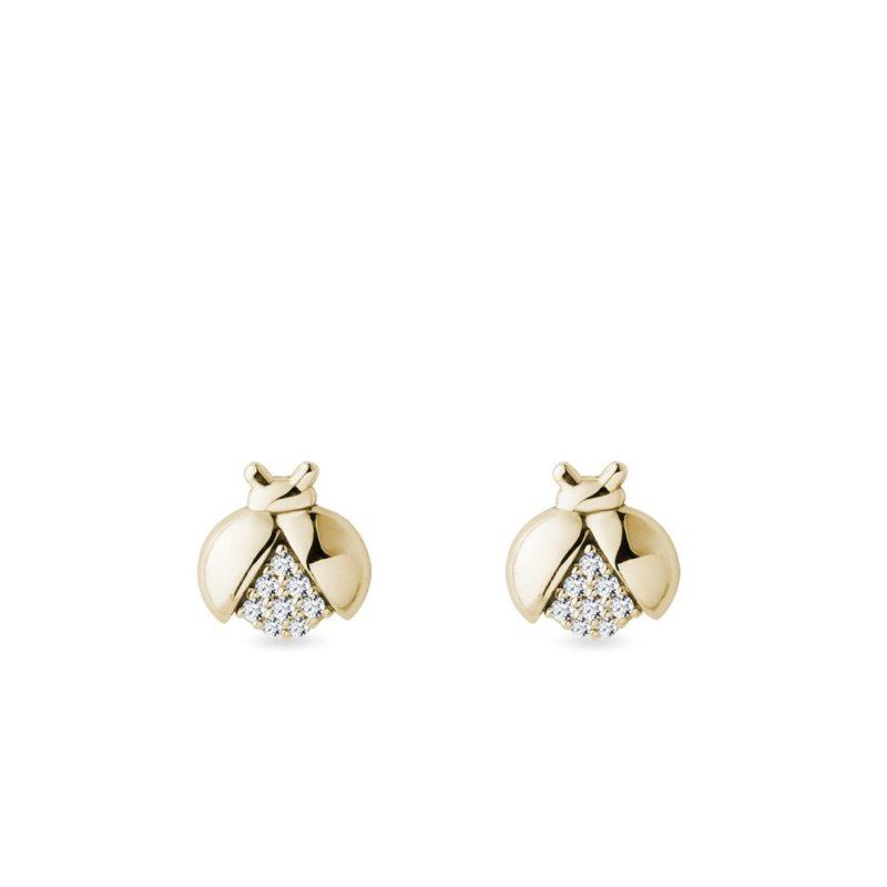 Zlaté náušnice berušky s diamanty KLENOTA