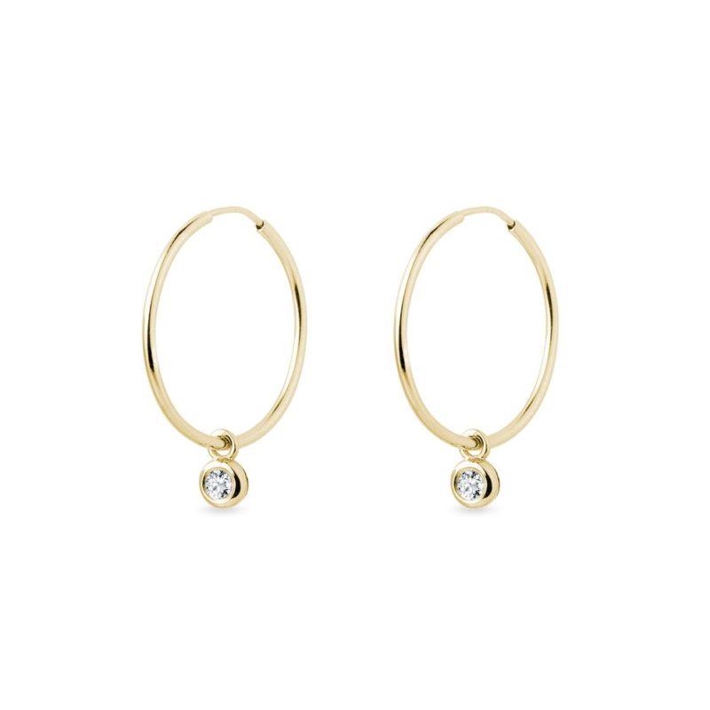 Zlaté náušnice kruhy s bezel diamanty KLENOTA