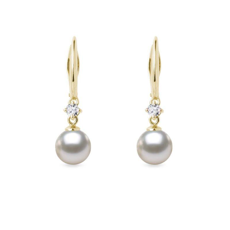 Zlaté náušnice s Akoya perlou a diamanty KLENOTA