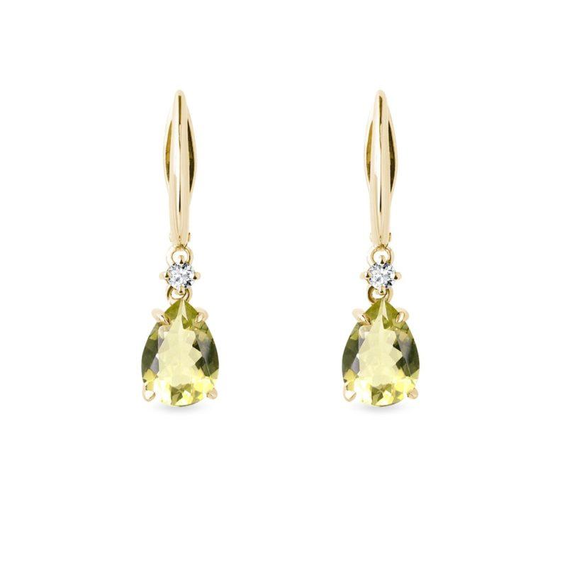 Zlaté náušnice s lemon quartzem a brilianty KLENOTA