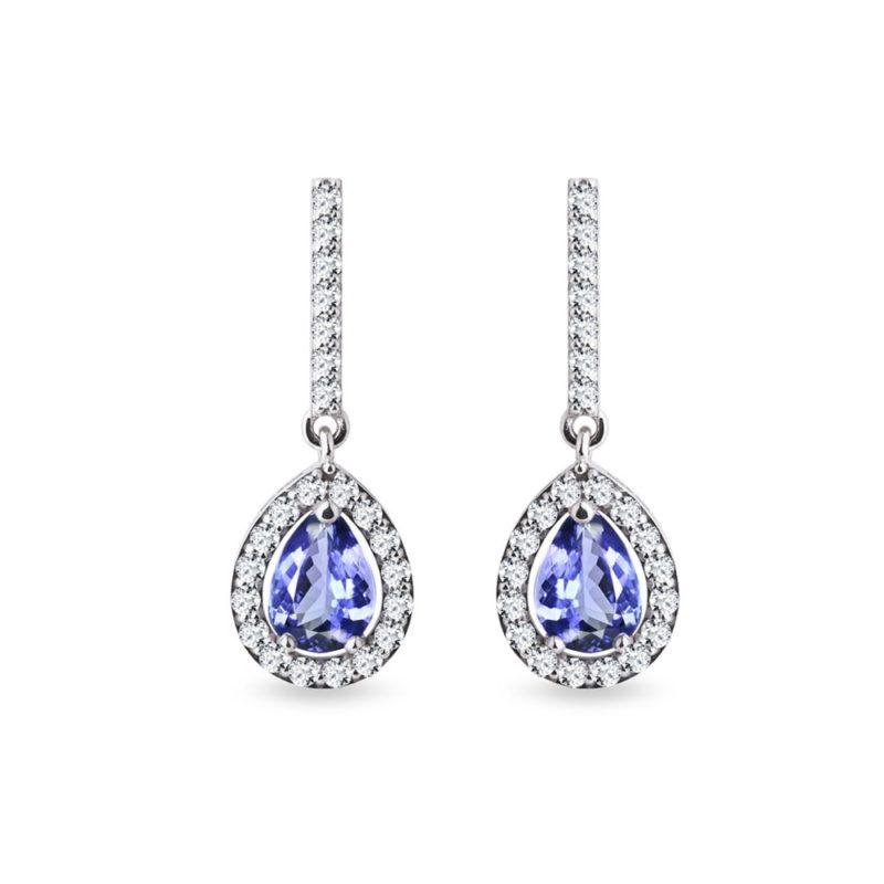 Zlaté náušnice s tanzanity a diamanty KLENOTA