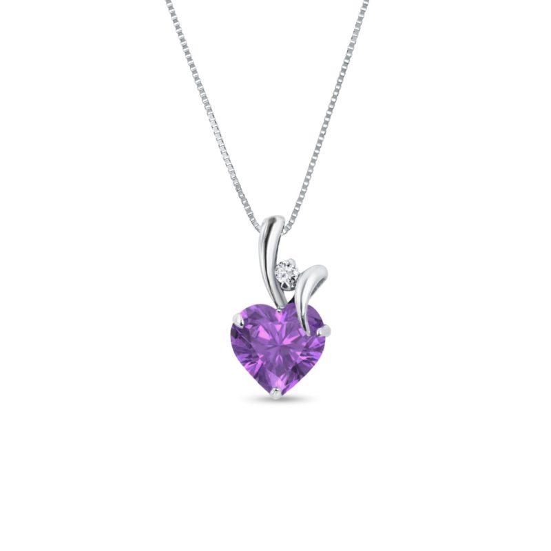 Zlatý náhrdelník s ametystem a diamantem KLENOTA