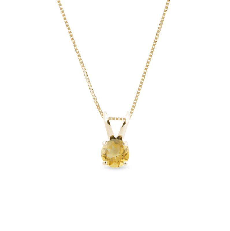 Zlatý náhrdelník s citrínem v kulatém brusu KLENOTA