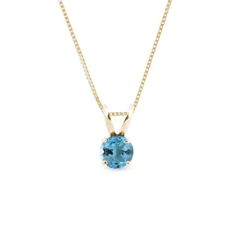 Zlatý náhrdelník s kulatým Swiss topazem KLENOTA