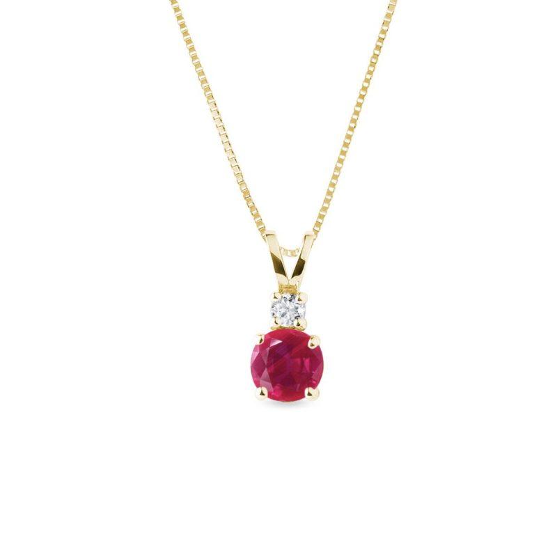 Zlatý náhrdelník s kulatým rubínem a diamantem KLENOTA