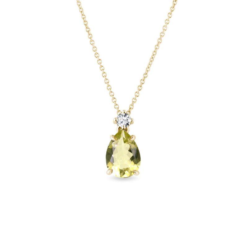 Zlatý náhrdelník s lemon quartzem a briliantem KLENOTA