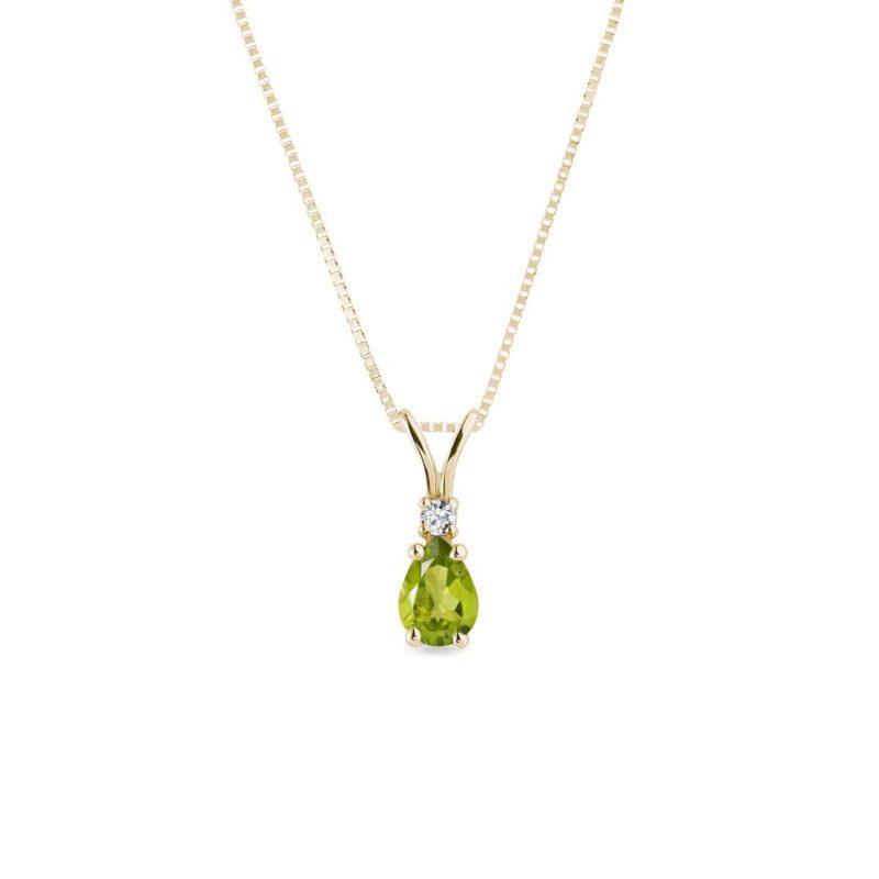 Zlatý náhrdelník s olivínem a briliantem KLENOTA
