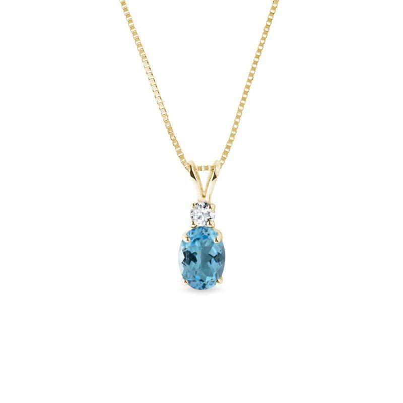 Zlatý náhrdelník s oválným topazem a diamantem KLENOTA