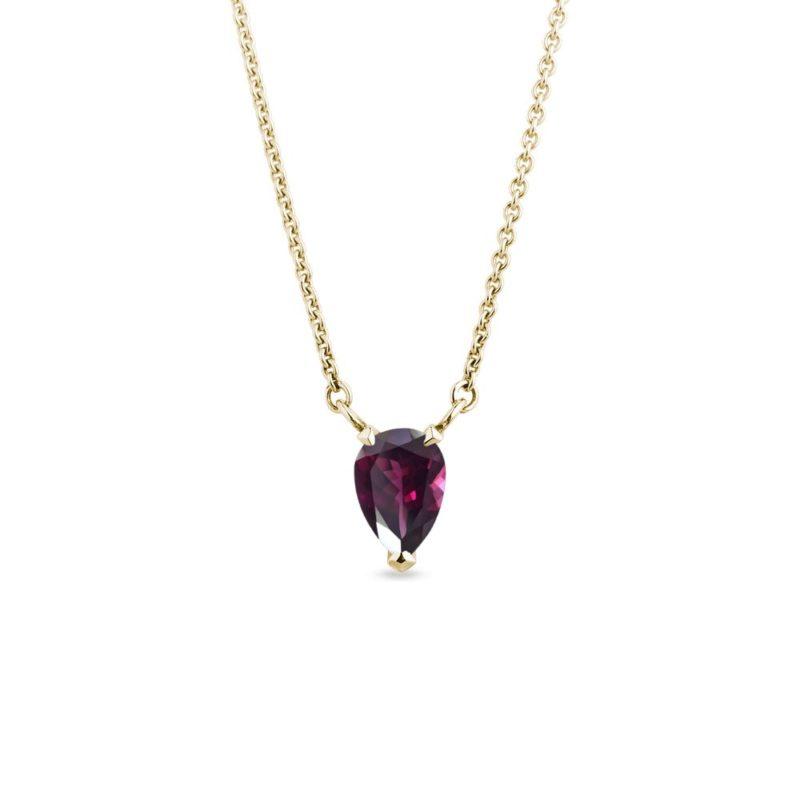 Zlatý náhrdelník s rhodolitem ve tvaru kapky KLENOTA