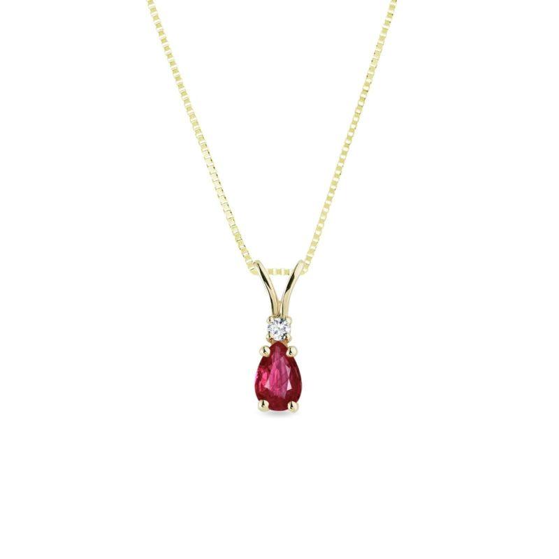 Zlatý náhrdelník s rubínem a briliantem KLENOTA