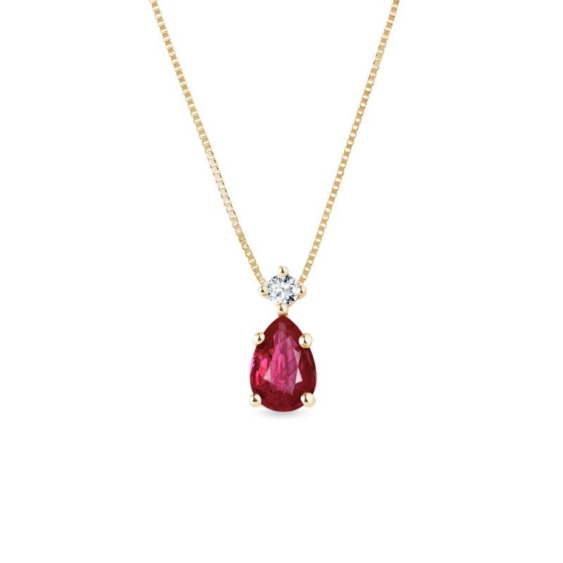 Zlatý náhrdelník s rubínem a diamantem KLENOTA