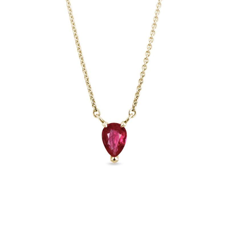 Zlatý náhrdelník s rubínem ve tvaru kapky KLENOTA