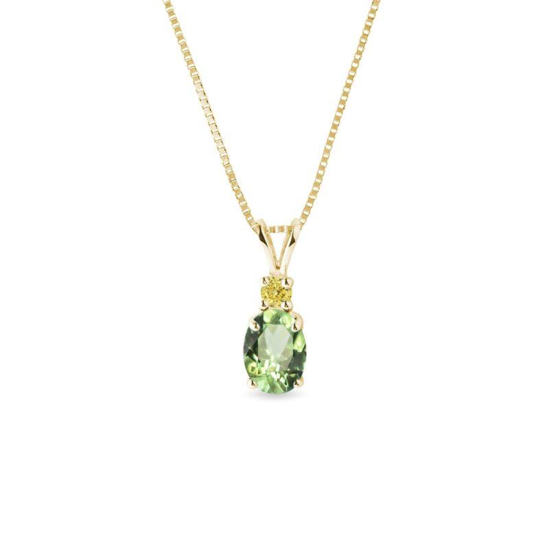 Zlatý náhrdelník s tsavoritem a žlutým safírem KLENOTA