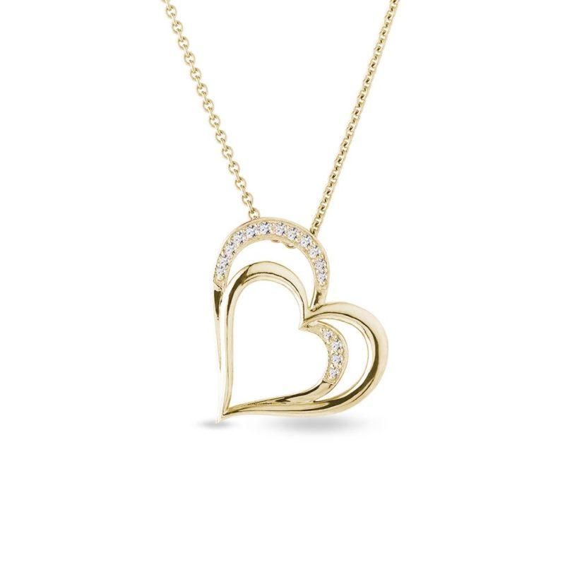 Zlatý náhrdelník srdce s brilianty KLENOTA