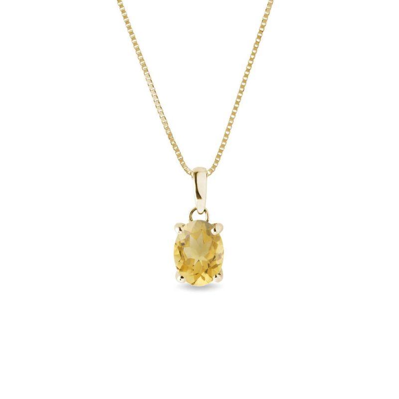 Zlatý přívěsek s citrínem KLENOTA