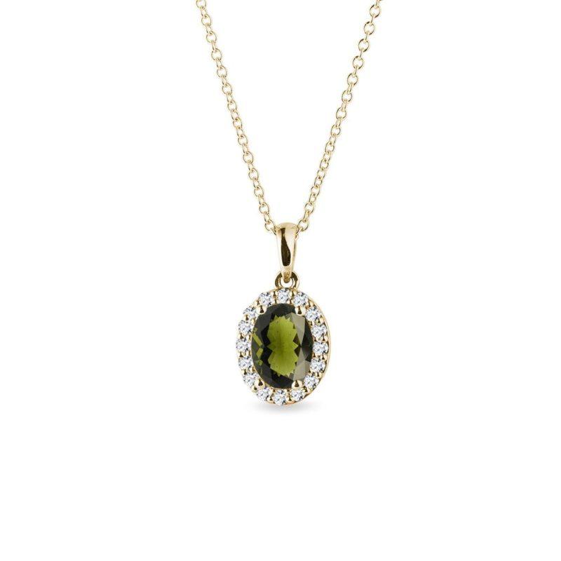 Zlatý přívěsek s vltavínem a diamanty KLENOTA