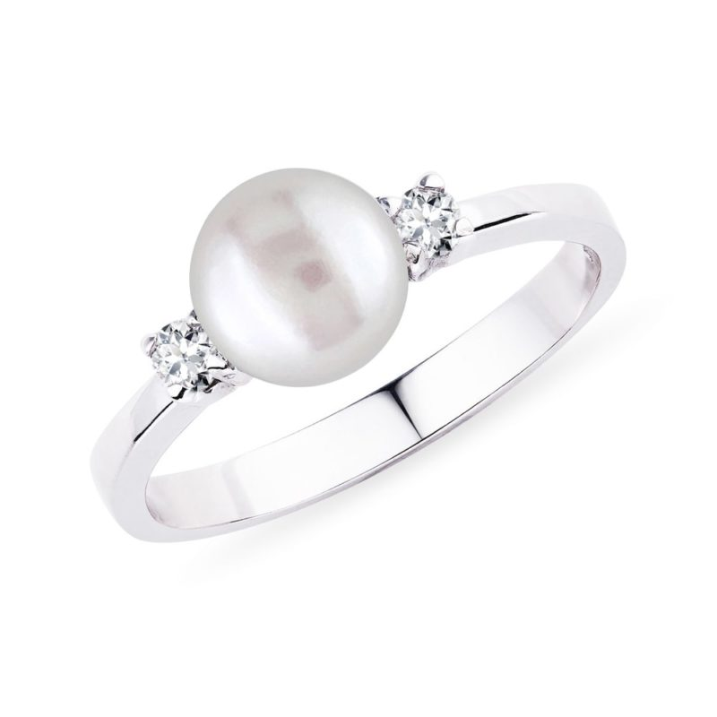 Zlatý perlový prsten s diamanty KLENOTA
