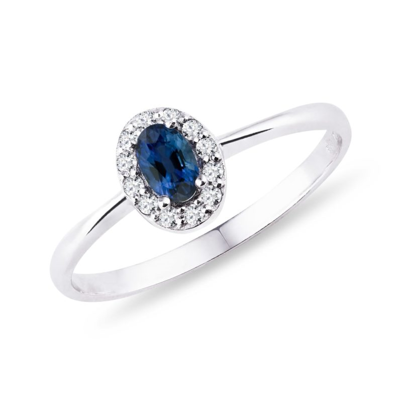 Zlatý prsten se safírem a diamanty KLENOTA