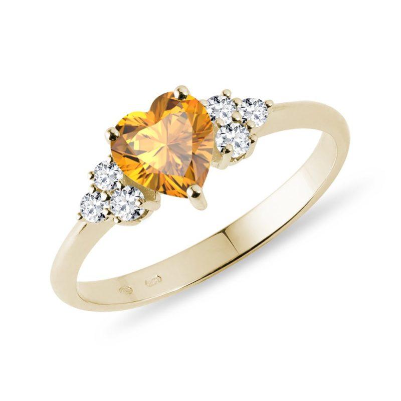 Zlatý prsten se srdcovým citrínem a diamanty KLENOTA