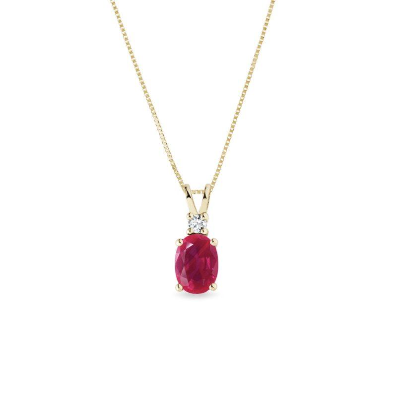Zlatý rubínový náhrdelník KLENOTA